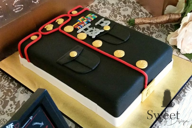 Marines dress uniform groom's cake by sweet by design in melissa, tx