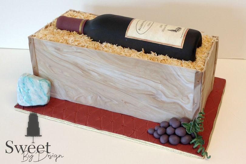 Wine bottle in crate groom's cake by sweet by design in melissa, tx