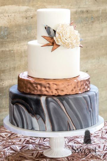 Sweet By Design Fondant Marble And Hammered Copper Wedding Cake