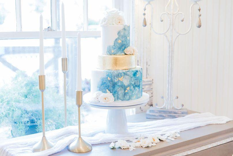 Small blue wedding cake