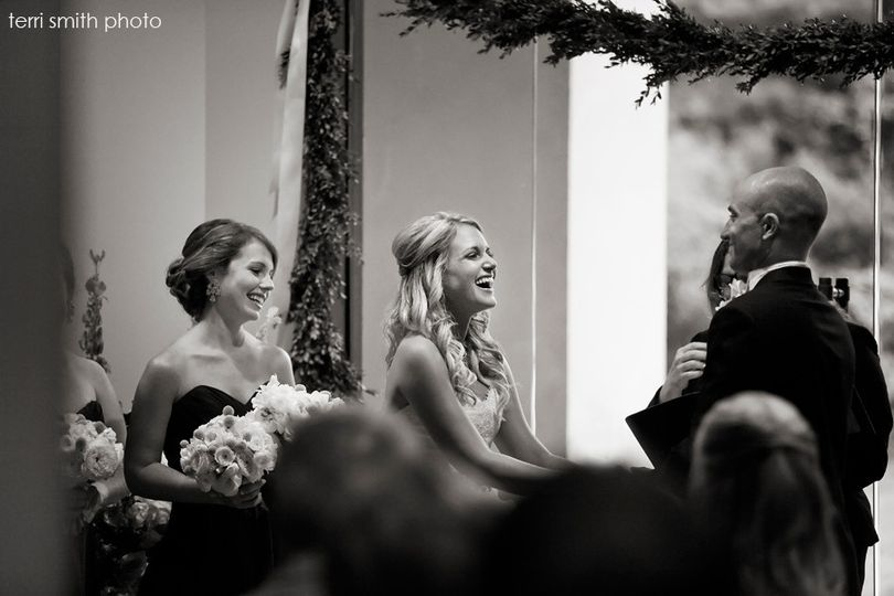 Sharing laughs at the ceremony