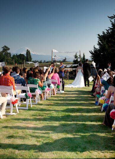 Private venue wedding ceremony with Mt. Rainier view.