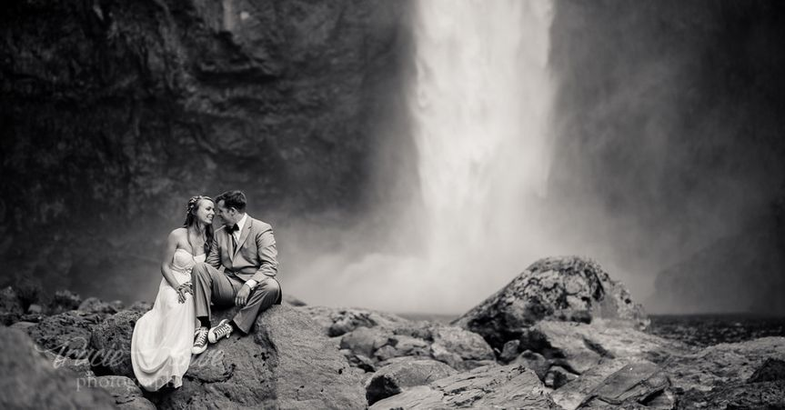 Destination elopement Snoqualmie Falls, Washington.