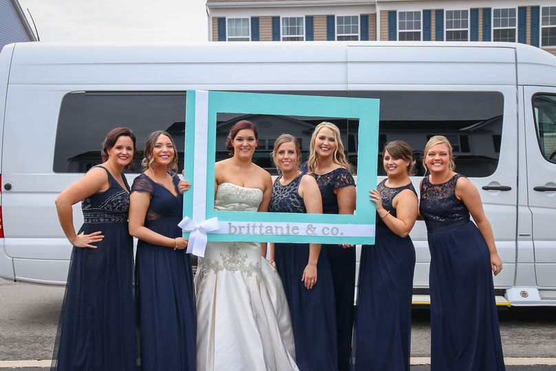 Bride and bridesmaids in a frame