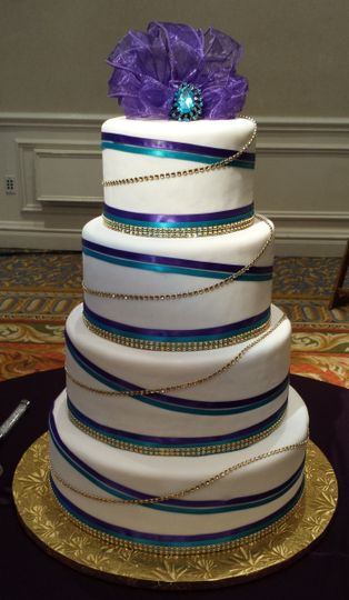Blue stripped cake