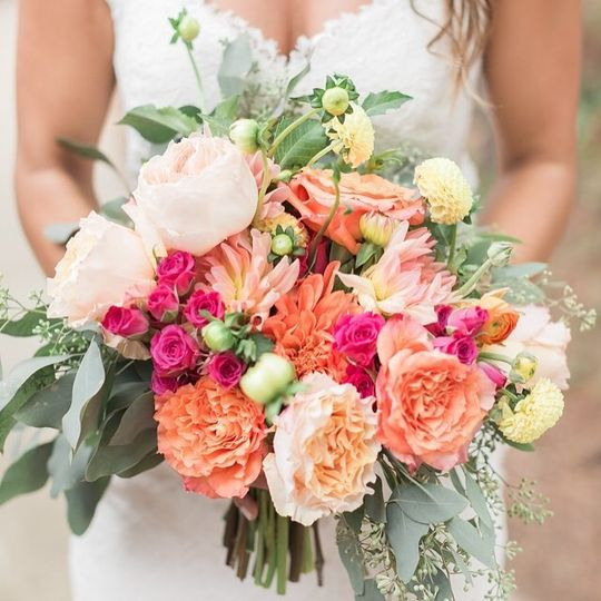 Peonies and cabbage roses