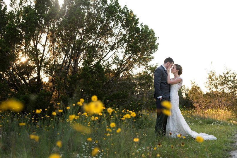 Romantic wedding at The Lookout in the Austin hill country.