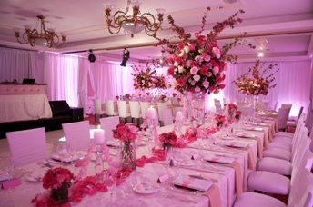 Table setup with tall centerpiece