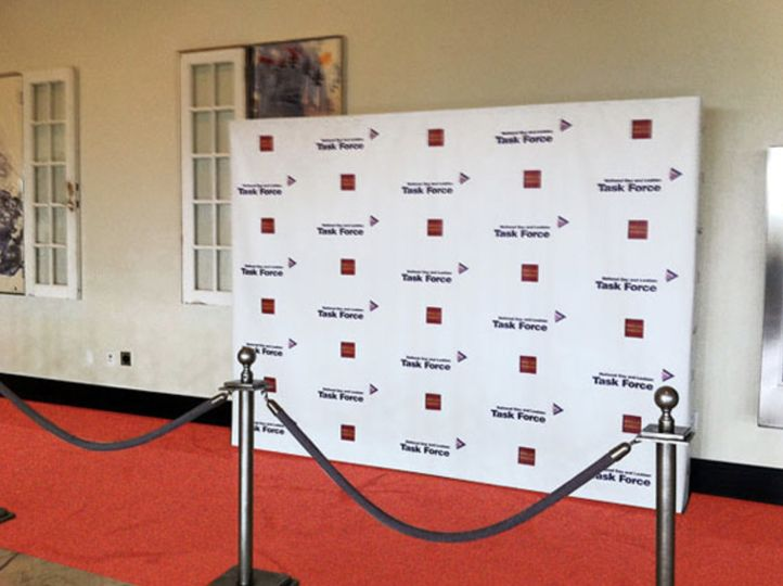 step and repeat custom wedding photo booth wall in