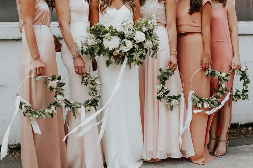 The bride and bridesmaids