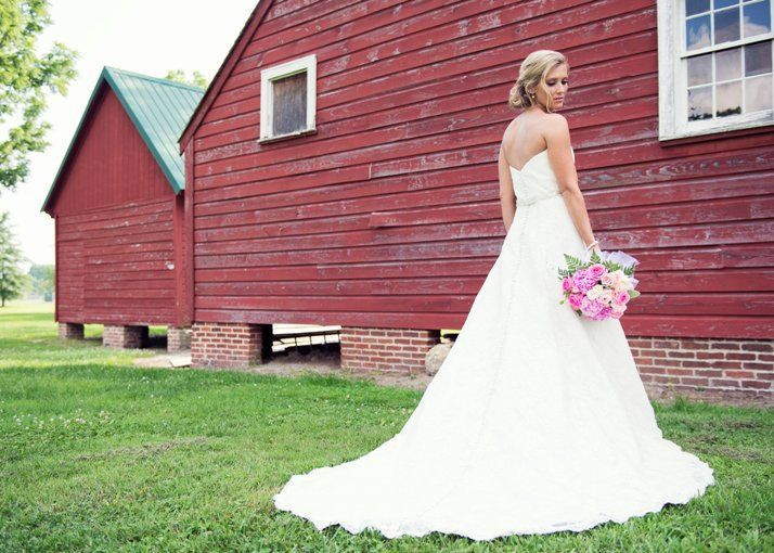 Bride in front of granary
