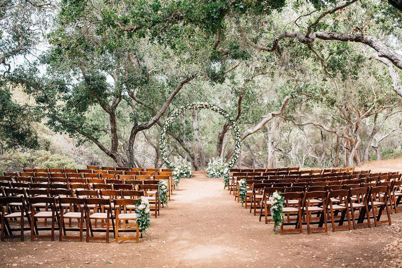 Ceremony setting in the woods