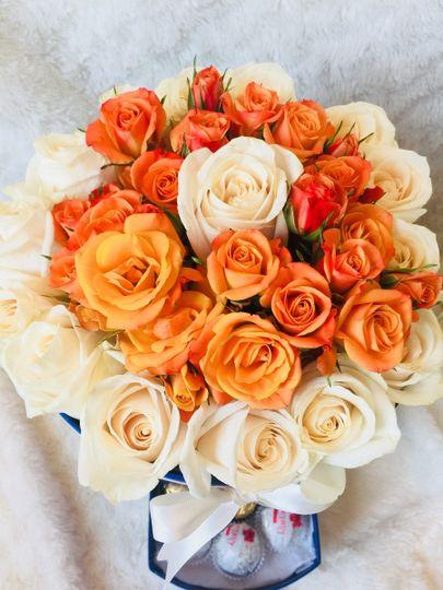 White and orange roses