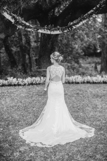 Back shot of bride