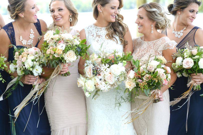 Two-tone bridesmaids dresses