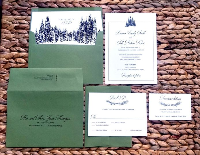Invite with envelope liner