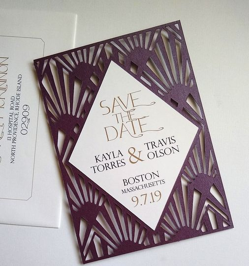 Art deco-inspired save-the-date