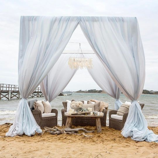 Ryan Designs Draped Cabana, Capiz Shell Chandelier & Lounge Furniture