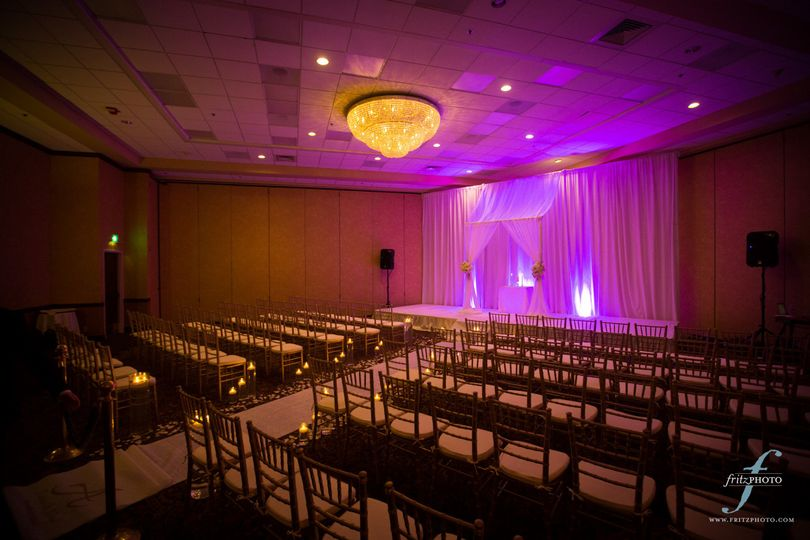 Have a gorgeous wedding ceremony in our large ballroom. Photo courtesy of Fritz Photography.