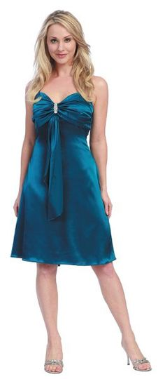 Short Satin Dress with Ribbon Decor - $75