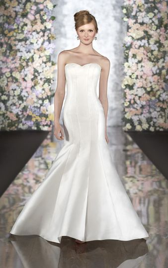 Satin fit and flare wedding dress