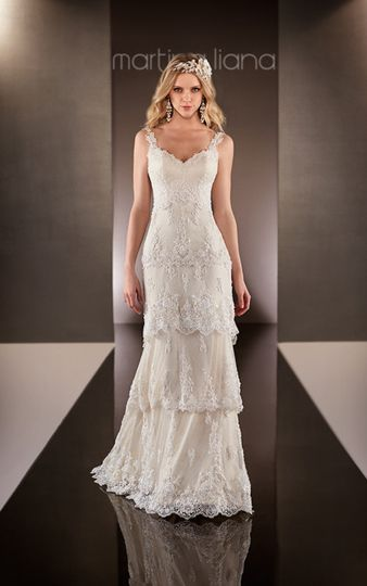 Vintage lace tiered wedding dress