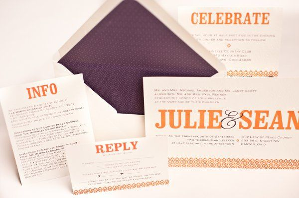 This invitation was custom designed and printed in two color thermography.