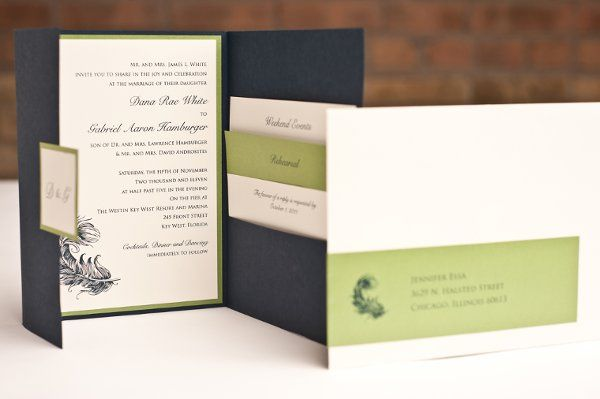This invitation was custom designed and printed using thermography.  The pocket was a custom...