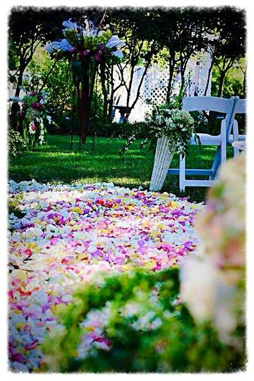 Bed of petals on the aisle
