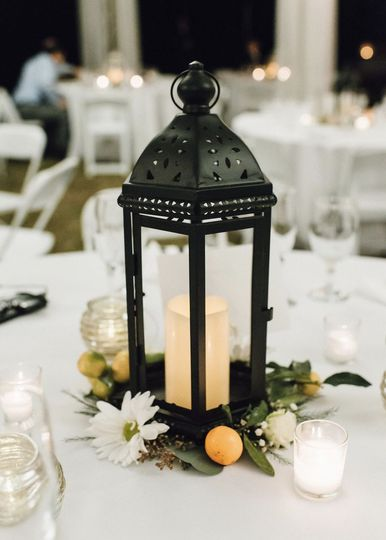 Lantern and floral decor