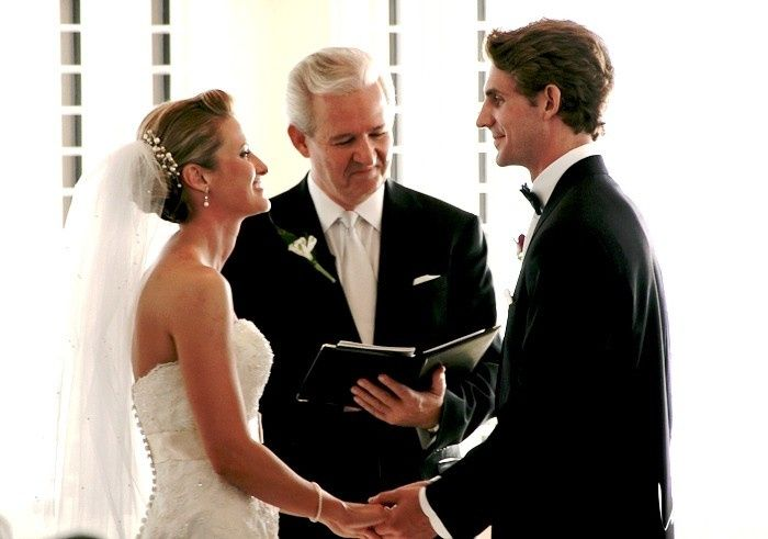 Wedding ceremony Couple kissing