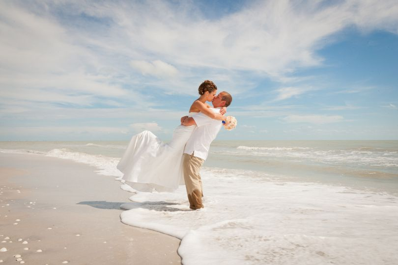 Romantic beach photograph taken at a destination wedding on Sanibel Island