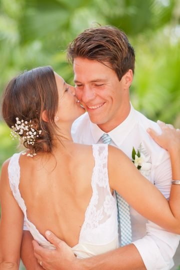 romantic photo of couple after their Captiva Island wedding
