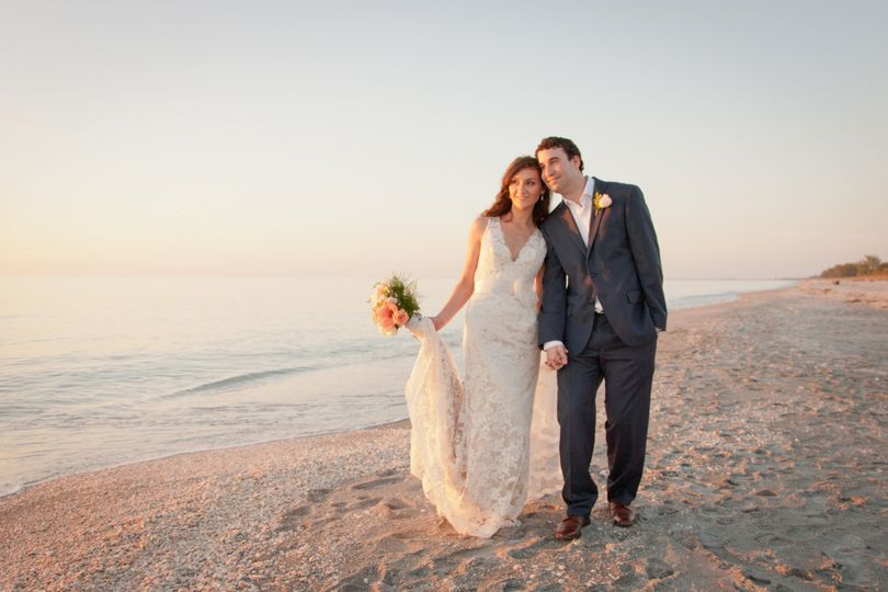 Wedding couple at sunset with a wedding at Tween Waters Inn on Captiva Island
