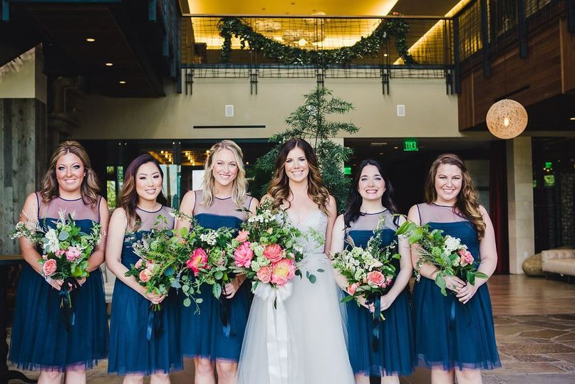Bride with bridesmaids