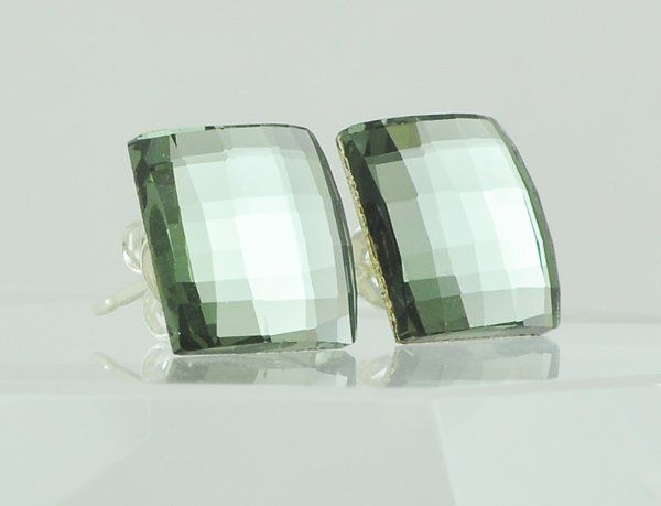 Black Diamond Swarovski Crystal Stud Earrings - Square Chessboard Design with Sterling Silver Posts...