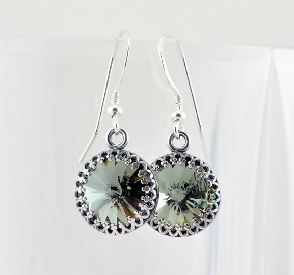 Black Diamond Swarovski Crystal Drop Earrings with Sterling Silver Accents  The authentic Swarovski...