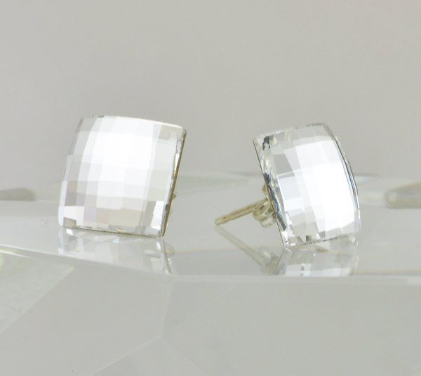 Clear Swarovski Crystal Stud Earrings - Square Chessboard Design with Sterling Silver Posts  These...