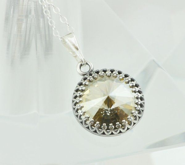 Golden Shadow Swarovski Crystal Necklace with Sterling Silver Setting and Chain   Beautiful round...