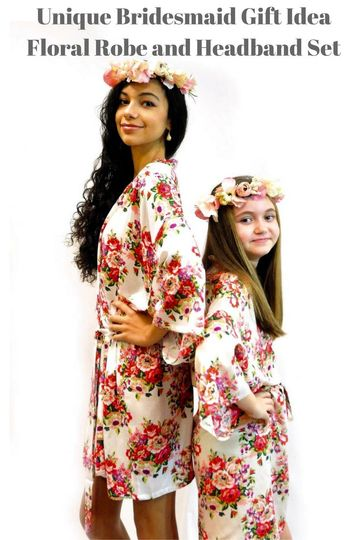 2871bc4ca6d063ee Unique Bridesmaid Gift IdeaFloral Robe and Headband Set