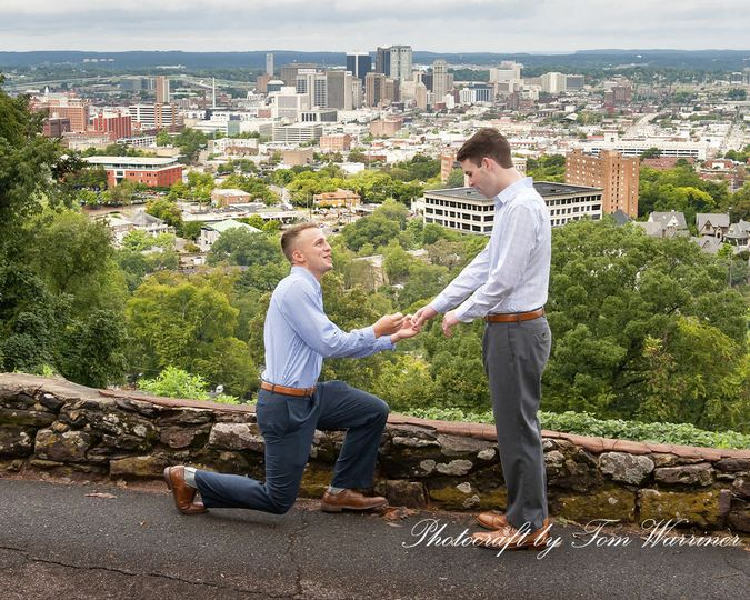 Surprise proposal overlooking the city of Birmingham, AL.