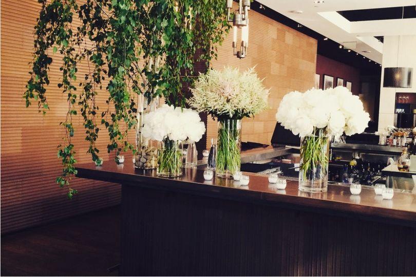 Flower arrangements and hanging vines