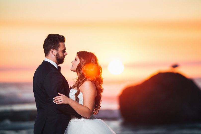Newlyweds in the sunset