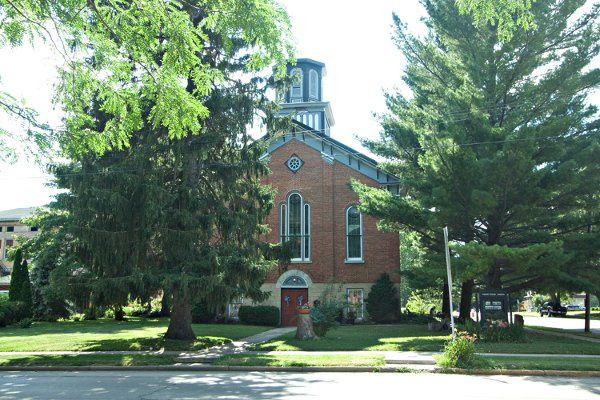 Front of church in summer