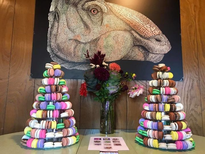 From a wedding party, custom designed double Macaron Towers displaying 10 flavors.