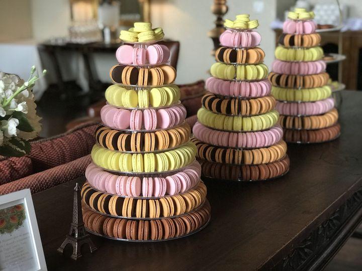 From a wedding, 3 Macaron towers with Ferrero Rocher, Dark Chocolate Orange, Raspberry and Lemon...