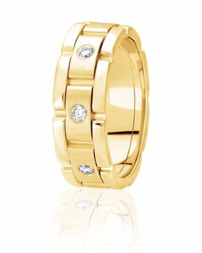 Link style diamond wedding band. Available in sizes 4 to 15 in your choice of precious metals