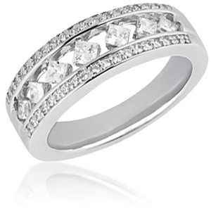 Handset ladies round and princess cut diamond wedding band. Available in your choice of precious...