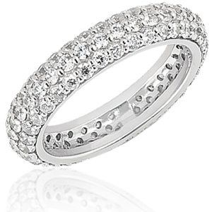 Handset three sided diamond pave wedding band. Available in your choice of 14 or 18K white, yellow...