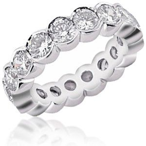Magnificent bezel set diamond eternity band. Offered to you in a variety of metal and carat weights